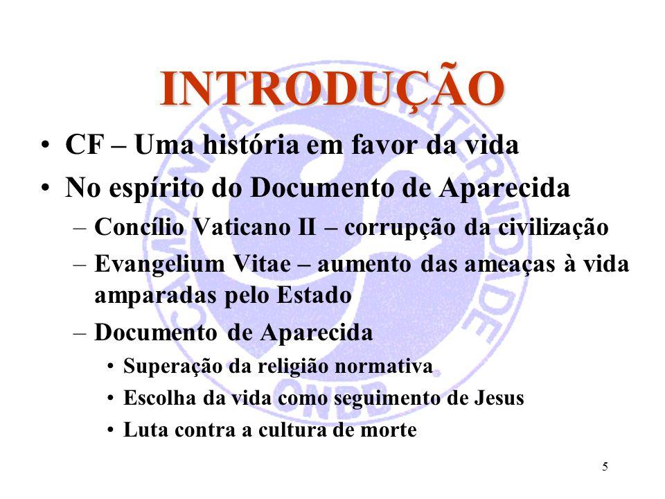5 INTRODUÇÃO CF – Uma história em favor da vida No espírito do Documento de Aparecida –Concílio Vaticano II – corrupção da civilização –Evangelium Vit