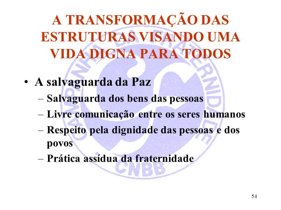 54 A TRANSFORMAÇÃO DAS ESTRUTURAS VISANDO UMA VIDA DIGNA PARA TODOS A salvaguarda da Paz –Salvaguarda dos bens das pessoas –Livre comunicação entre os