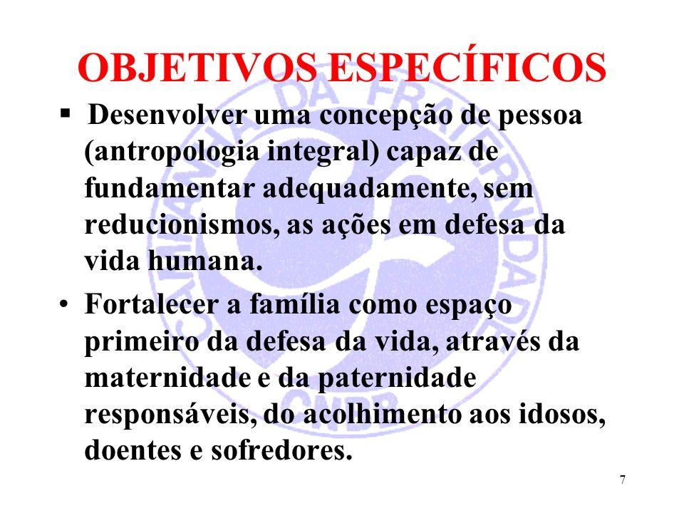 7 OBJETIVOS ESPECÍFICOS Desenvolver uma concepção de pessoa (antropologia integral) capaz de fundamentar adequadamente, sem reducionismos, as ações em
