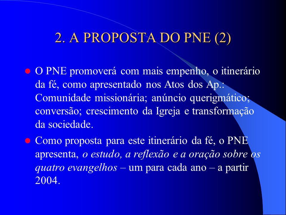 2. A PROPOSTA DO PNE (2) O PNE promoverá com mais empenho, o itinerário da fé, como apresentado nos Atos dos Ap.: Comunidade missionária; anúncio quer
