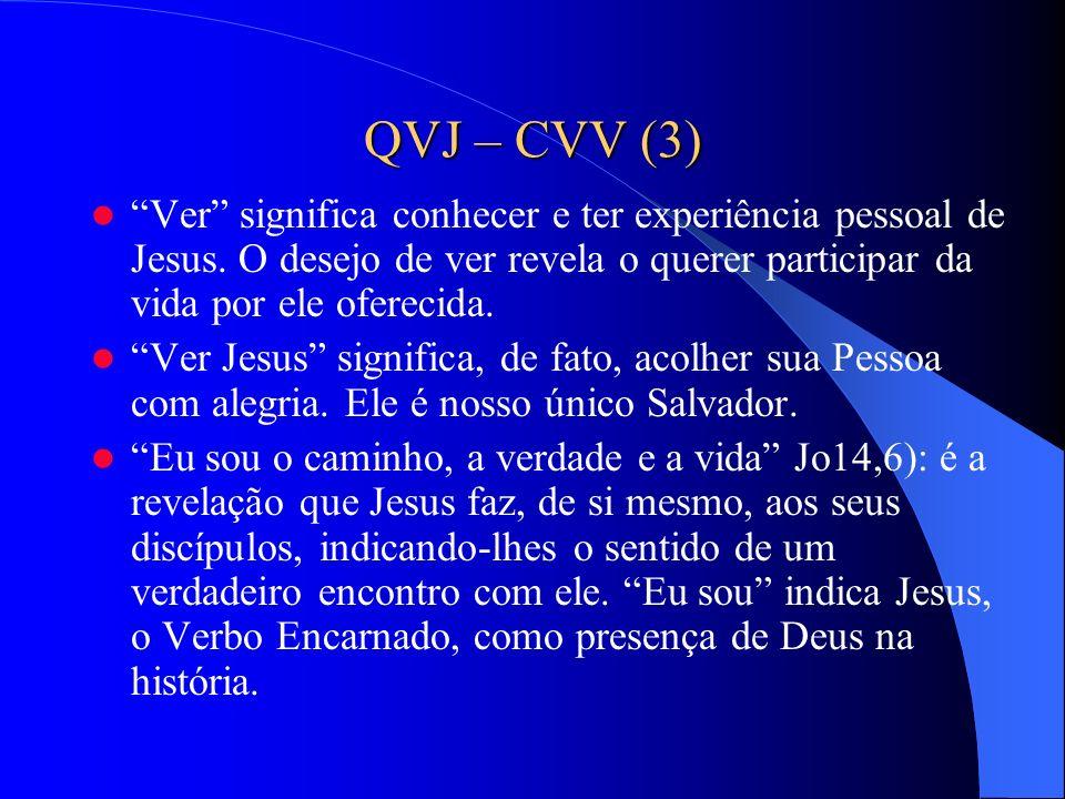QVJ – CVV (3) Ver significa conhecer e ter experiência pessoal de Jesus. O desejo de ver revela o querer participar da vida por ele oferecida. Ver Jes