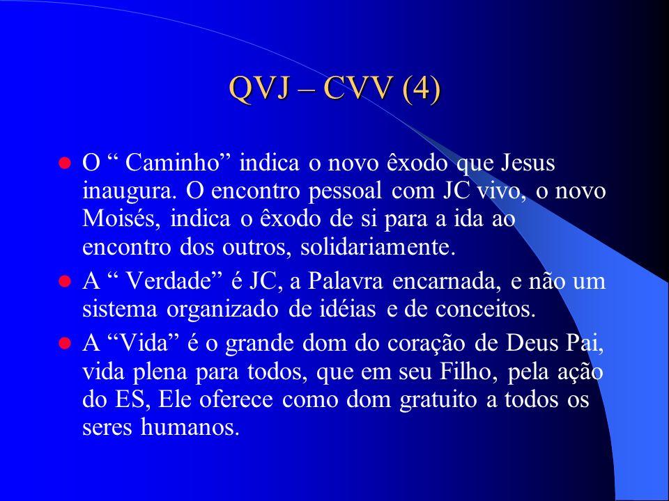 QVJ – CVV (4) O Caminho indica o novo êxodo que Jesus inaugura. O encontro pessoal com JC vivo, o novo Moisés, indica o êxodo de si para a ida ao enco