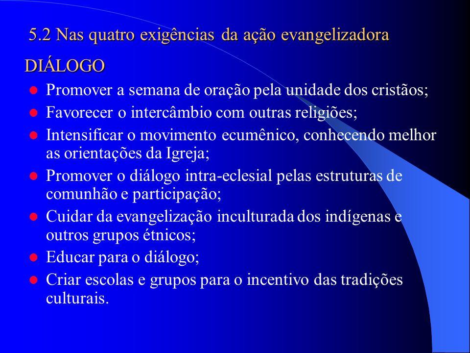 Promover a semana de oração pela unidade dos cristãos; Favorecer o intercâmbio com outras religiões; Intensificar o movimento ecumênico, conhecendo me