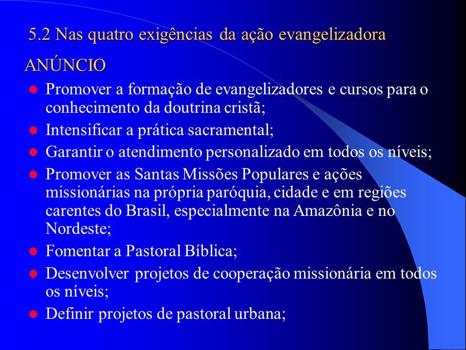 Promover a formação de evangelizadores e cursos para o conhecimento da doutrina cristã; Intensificar a prática sacramental; Garantir o atendimento per