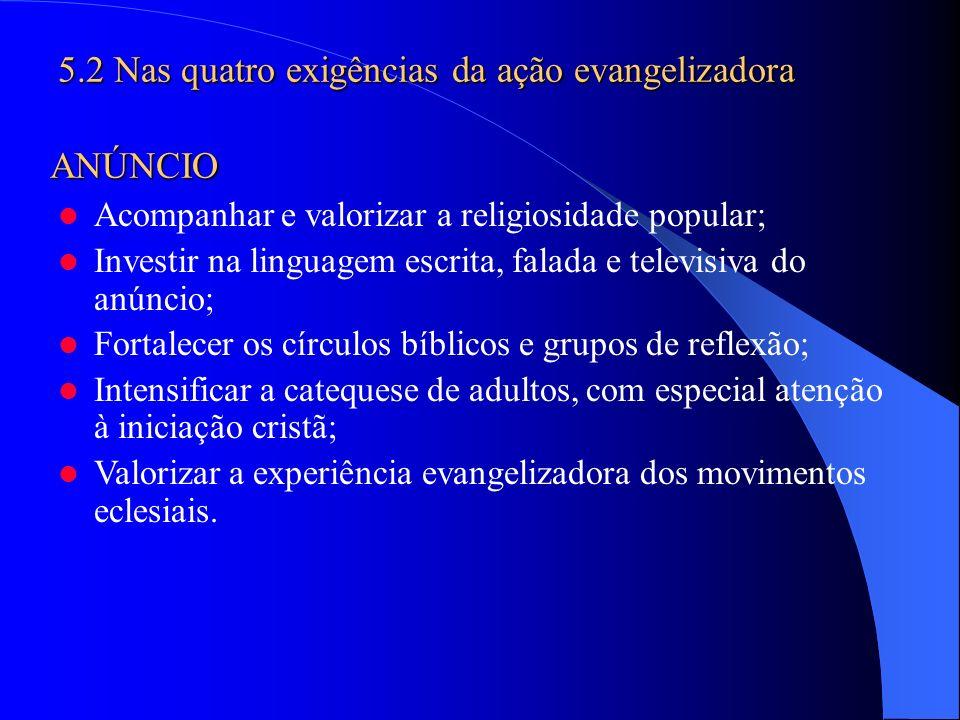 Acompanhar e valorizar a religiosidade popular; Investir na linguagem escrita, falada e televisiva do anúncio; Fortalecer os círculos bíblicos e grupo