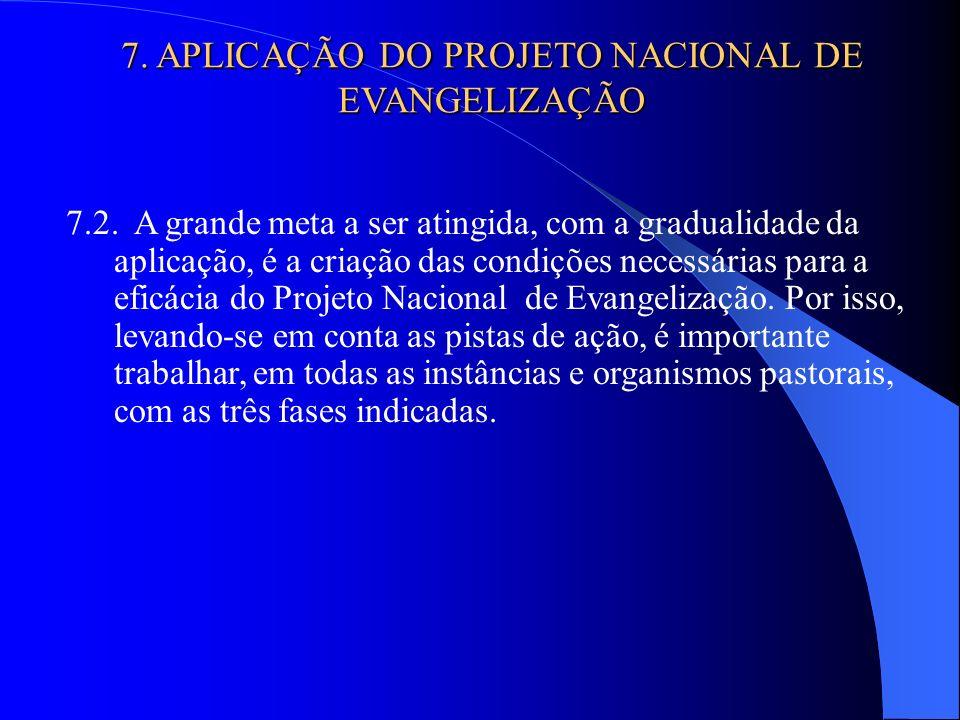 7.2. A grande meta a ser atingida, com a gradualidade da aplicação, é a criação das condições necessárias para a eficácia do Projeto Nacional de Evang