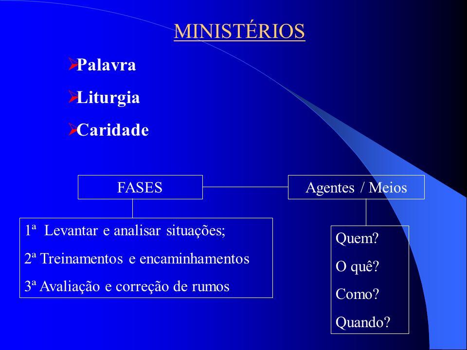 MINISTÉRIOS Palavra Liturgia Caridade Quem? O quê? Como? Quando? 1ª Levantar e analisar situações; 2ª Treinamentos e encaminhamentos 3ª Avaliação e co