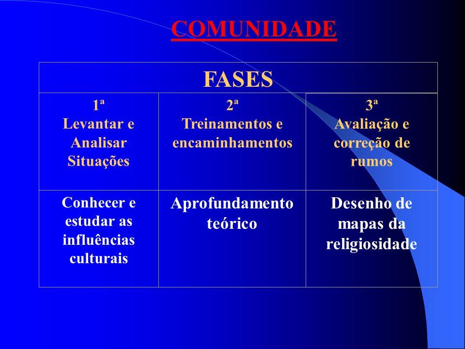 FASES 1ª Levantar e Analisar Situações 2ª Treinamentos e encaminhamentos 3ª Avaliação e correção de rumos COMUNIDADE Conhecer e estudar as influências