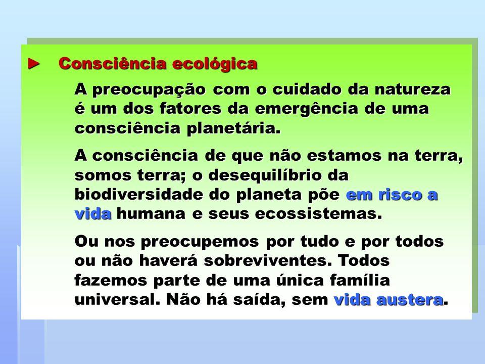 Consciência ecológica A preocupação com o cuidado da natureza é um dos fatores da emergência de uma consciência planetária. Consciência ecológica A pr