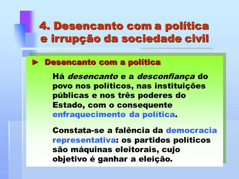 Desencanto com a política Desencanto com a política Há desencanto e a desconfiança do povo nos políticos, nas instituições públicas e nos três poderes