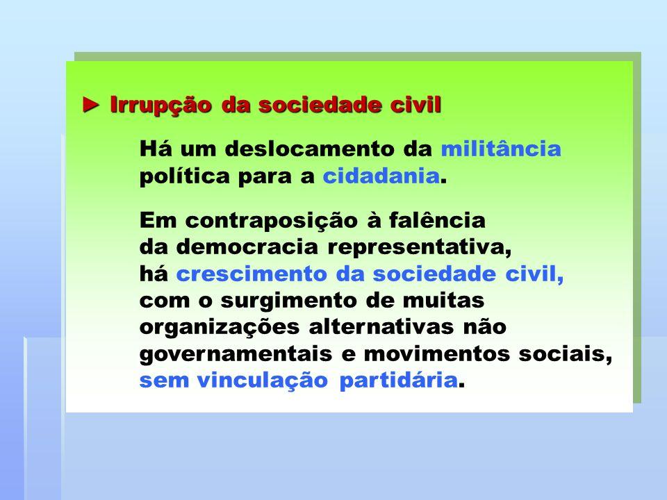 Irrupção da sociedade civil Irrupção da sociedade civil Há um deslocamento da militância política para a cidadania. Em contraposição à falência da dem