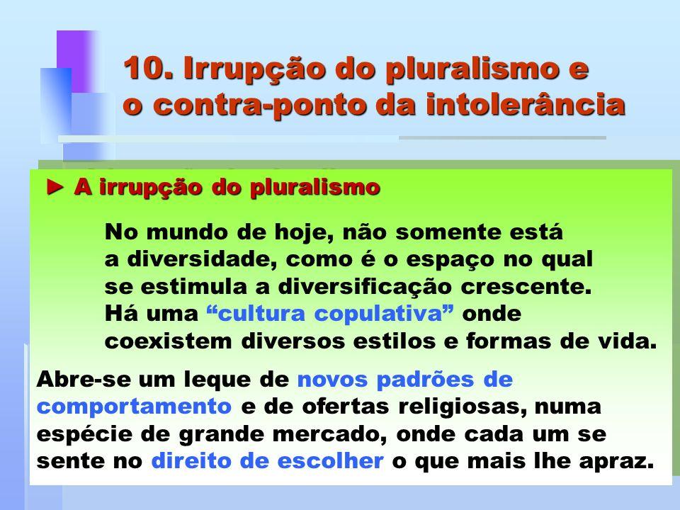 A irrupção do pluralismo A irrupção do pluralismo No mundo de hoje, não somente está a diversidade, como é o espaço no qual se estimula a diversificaç
