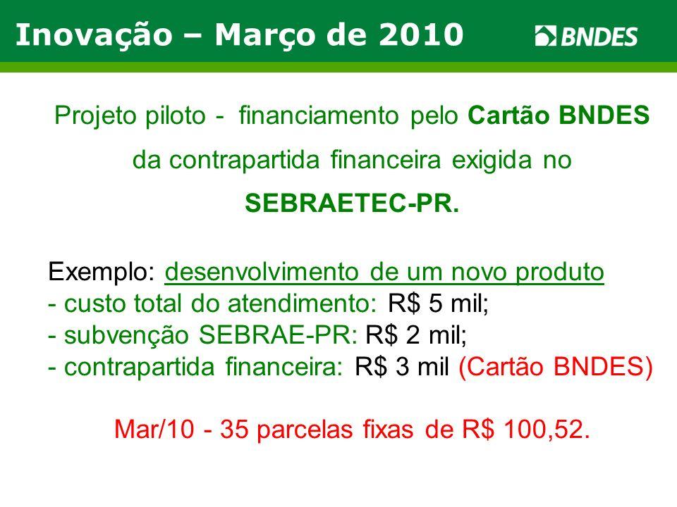Inovação – Março de 2010 Projeto piloto - financiamento pelo Cartão BNDES da contrapartida financeira exigida no SEBRAETEC-PR. Exemplo: desenvolviment