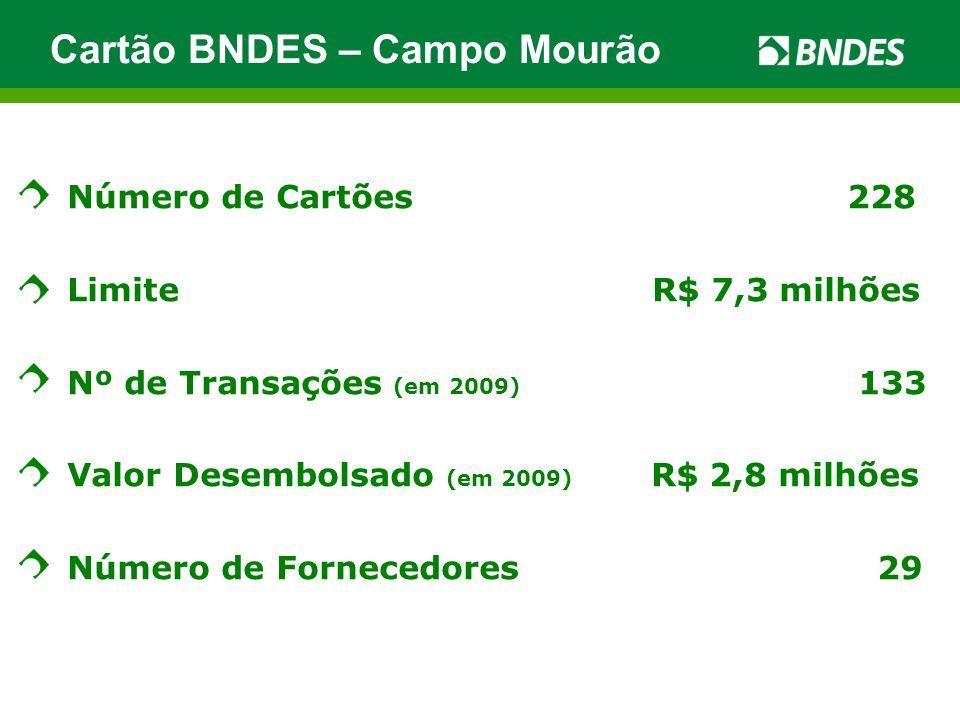 Número de Cartões 228 Limite R$ 7,3 milhões Nº de Transações (em 2009) 133 Valor Desembolsado (em 2009) R$ 2,8 milhões Número de Fornecedores 29 Cartã