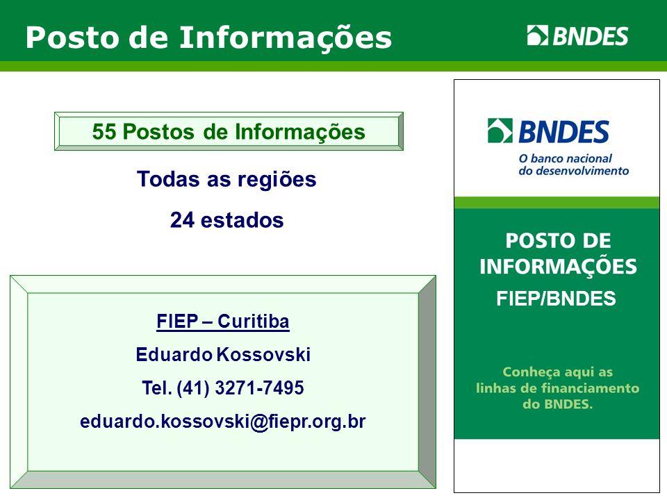 Todas as regiões 24 estados 55 Postos de Informações FIEP/BNDES FIEP – Curitiba Eduardo Kossovski Tel. (41) 3271-7495 eduardo.kossovski@fiepr.org.br P