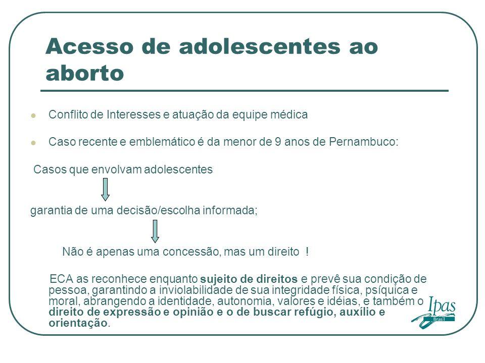 Acesso de adolescentes ao aborto Conflito de Interesses e atuação da equipe médica Caso recente e emblemático é da menor de 9 anos de Pernambuco: Caso