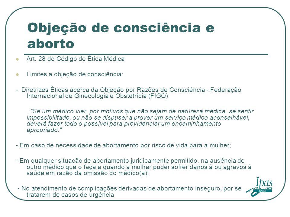 Objeção de consciência e aborto Art. 28 do Código de Ética Médica Limites a objeção de consciência: - Diretrizes Éticas acerca da Objeção por Razões d