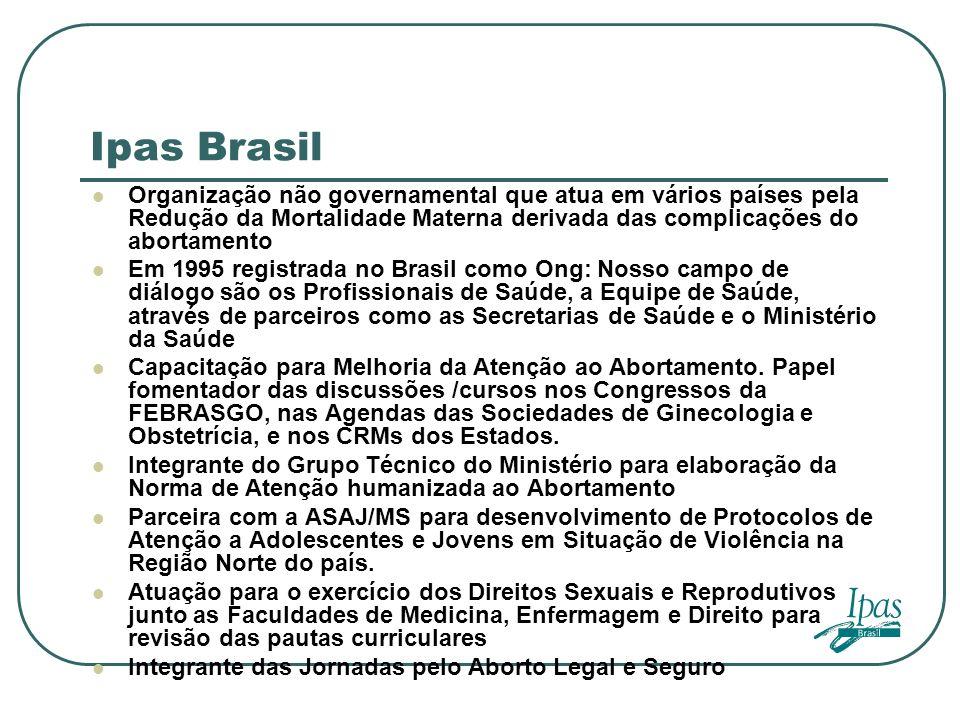 Ipas Brasil Organização não governamental que atua em vários países pela Redução da Mortalidade Materna derivada das complicações do abortamento Em 19