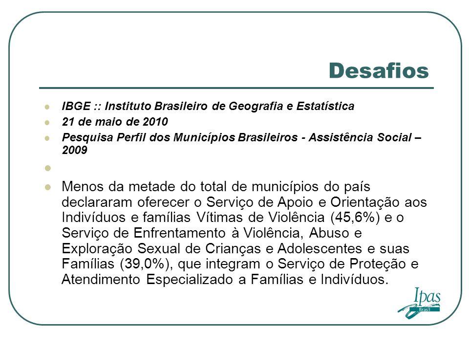 Desafios IBGE :: Instituto Brasileiro de Geografia e Estatística 21 de maio de 2010 Pesquisa Perfil dos Municípios Brasileiros - Assistência Social –