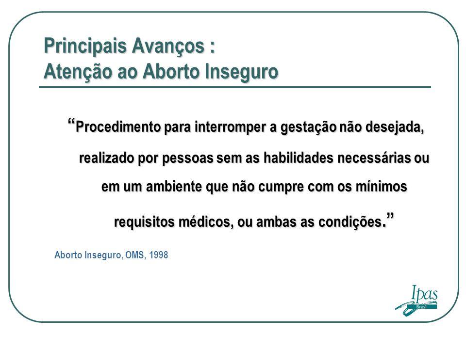 Principais Avanços : Atenção ao Aborto Inseguro Procedimento para interromper a gestação não desejada, realizado por pessoas sem as habilidades necess