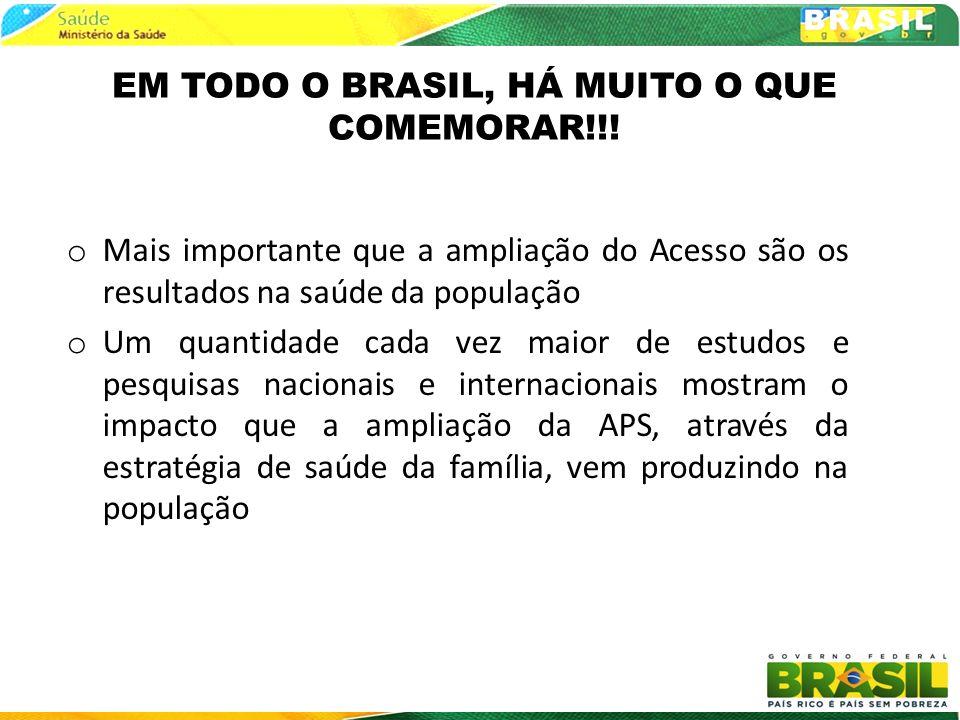 EM TODO O BRASIL, HÁ MUITO O QUE COMEMORAR!!! o Mais importante que a ampliação do Acesso são os resultados na saúde da população o Um quantidade cada