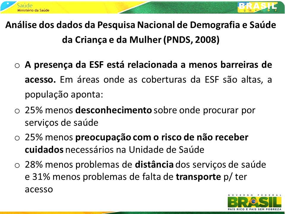 Análise dos dados da Pesquisa Nacional de Demografia e Saúde da Criança e da Mulher (PNDS, 2008) o A presença da ESF está relacionada a menos barreira