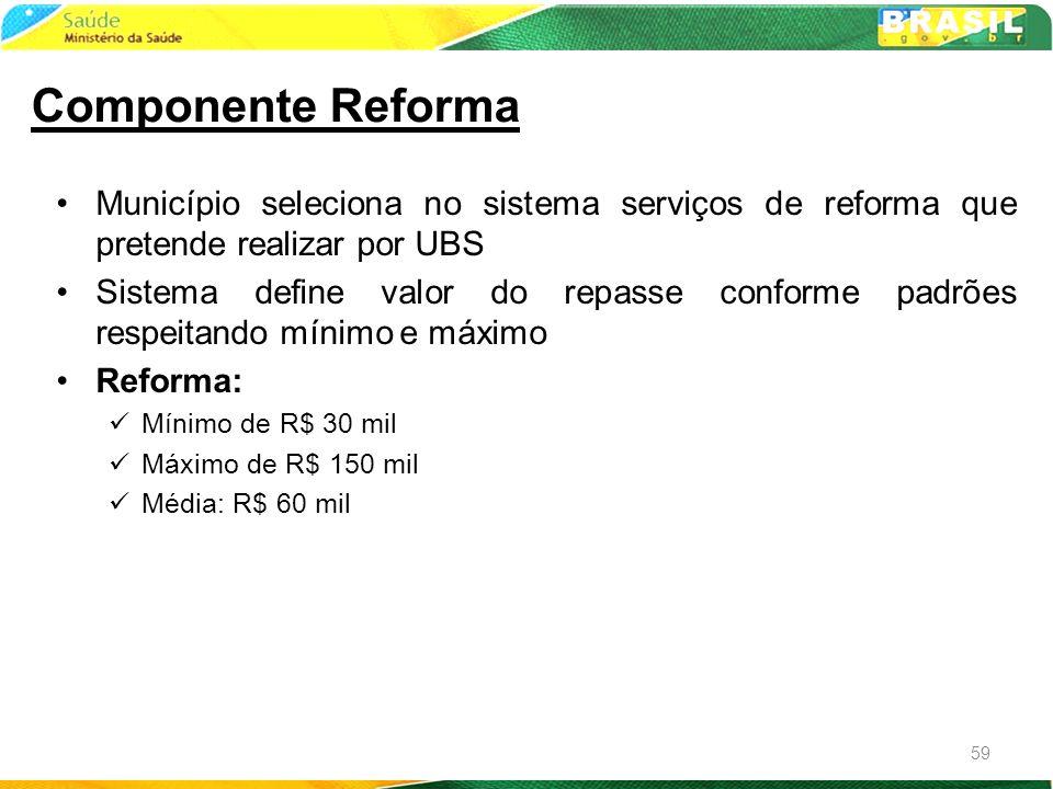 Município seleciona no sistema serviços de reforma que pretende realizar por UBS Sistema define valor do repasse conforme padrões respeitando mínimo e