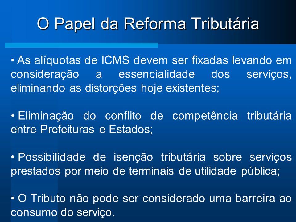 O Papel da Reforma Tributária As alíquotas de ICMS devem ser fixadas levando em consideração a essencialidade dos serviços, eliminando as distorções h