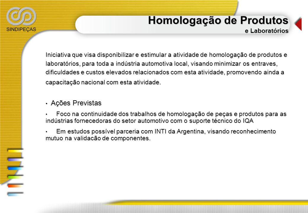 Homologação de Produtos e Laboratórios Iniciativa que visa disponibilizar e estimular a atividade de homologação de produtos e laboratórios, para toda