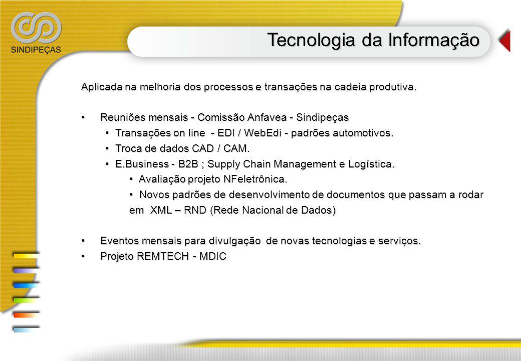 Tecnologia da Informação Aplicada na melhoria dos processos e transações na cadeia produtiva. Reuniões mensais - Comissão Anfavea - Sindipeças Reuniõe