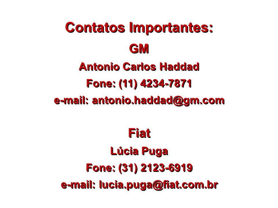 Contatos Importantes: GM Antonio Carlos Haddad Fone: (11) 4234-7871 e-mail: antonio.haddad@gm.com GM Antonio Carlos Haddad Fone: (11) 4234-7871 e-mail