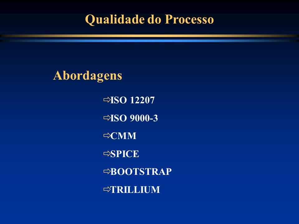 Qualidade do Processo ISO 12207 ISO 9000-3 CMM SPICE BOOTSTRAP TRILLIUM Abordagens