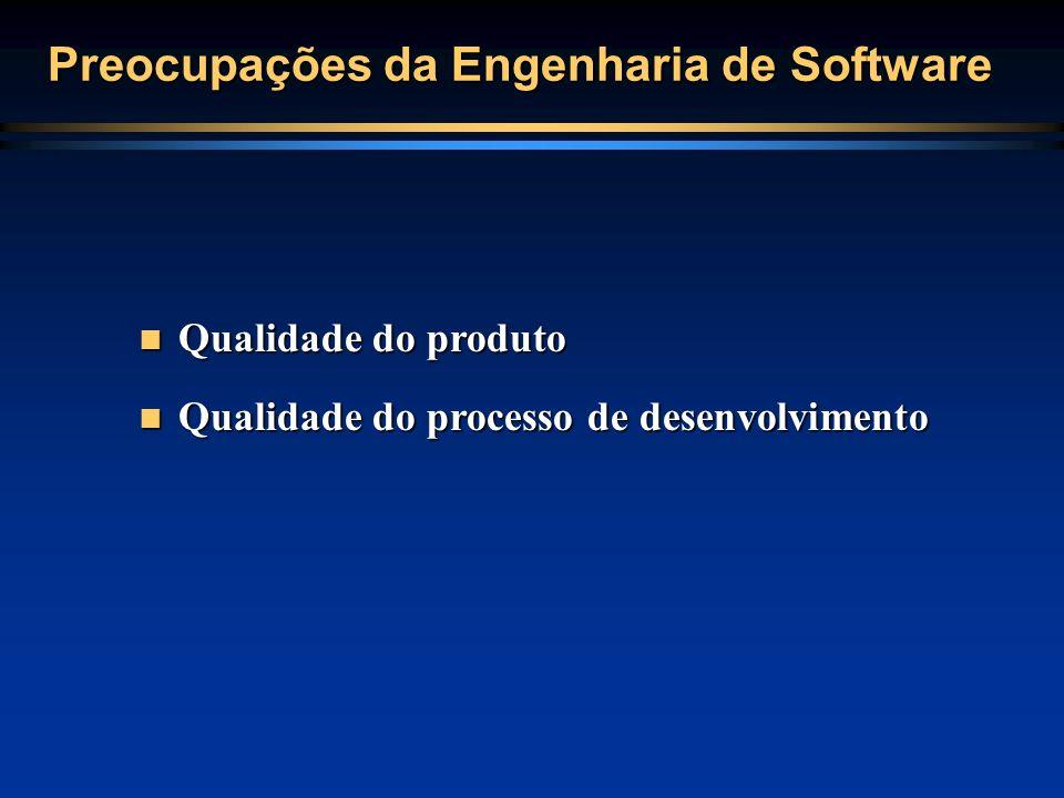 Preocupações da Engenharia de Software Qualidade do produto Qualidade do produto Qualidade do processo de desenvolvimento Qualidade do processo de des