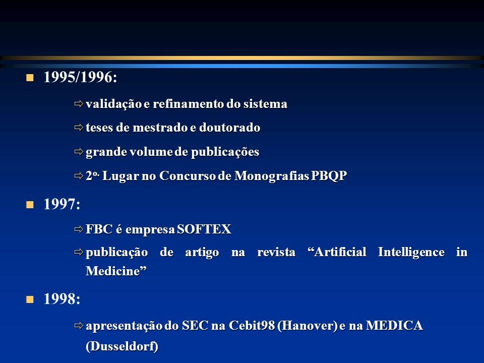 1995/1996: validação e refinamento do sistema validação e refinamento do sistema teses de mestrado e doutorado teses de mestrado e doutorado grande vo