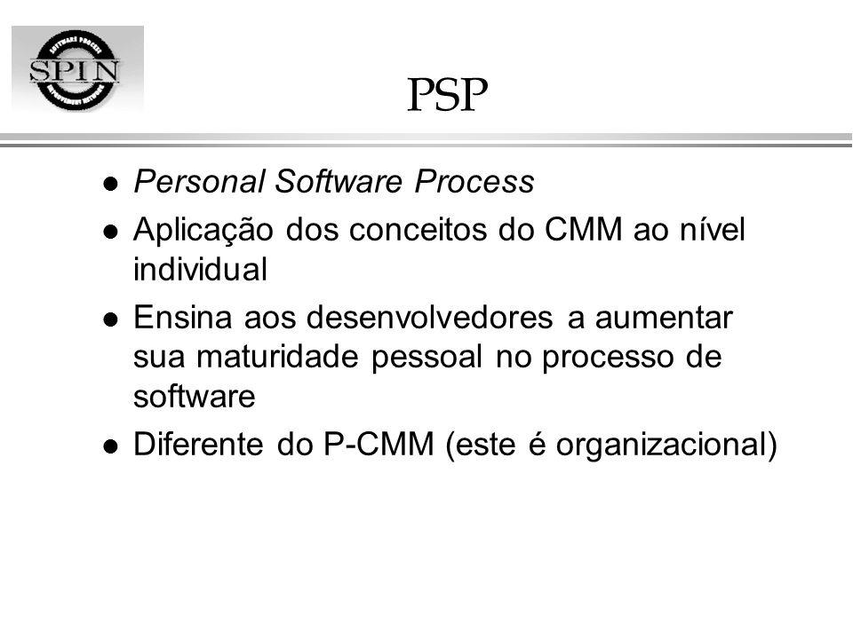 PSP l Personal Software Process l Aplicação dos conceitos do CMM ao nível individual l Ensina aos desenvolvedores a aumentar sua maturidade pessoal no