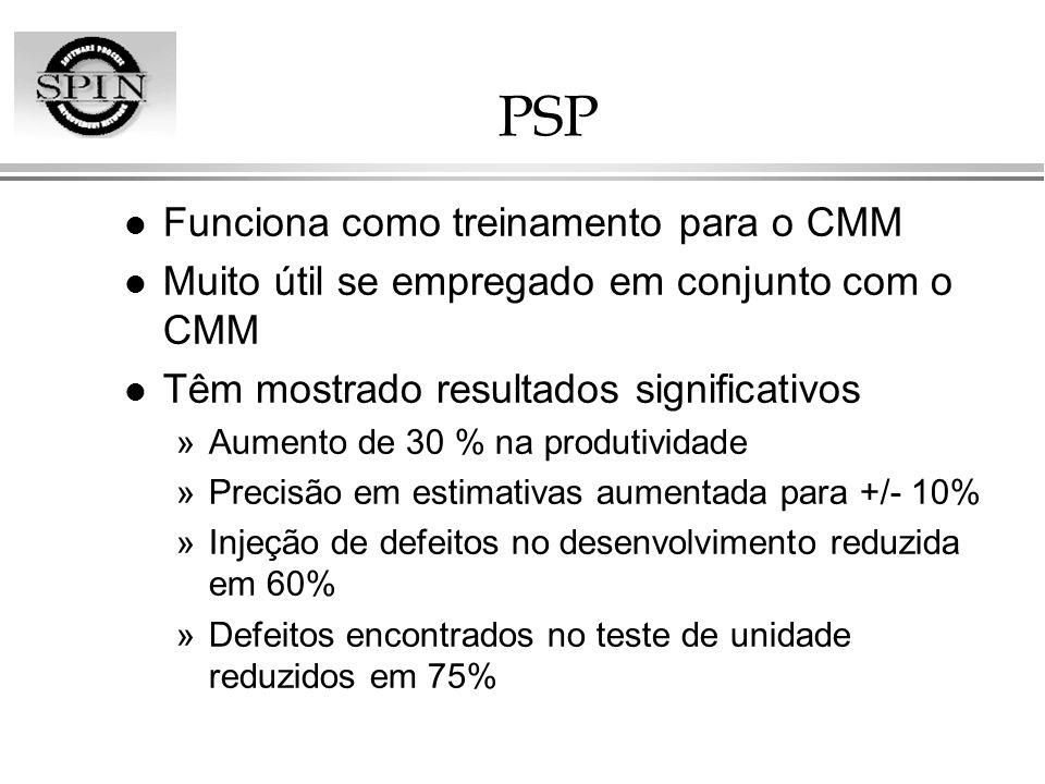 PSP l Funciona como treinamento para o CMM l Muito útil se empregado em conjunto com o CMM l Têm mostrado resultados significativos »Aumento de 30 % n