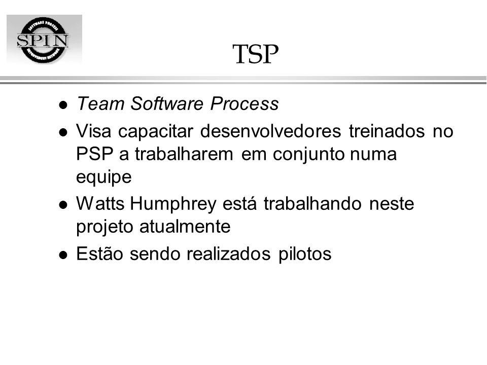 TSP l Team Software Process l Visa capacitar desenvolvedores treinados no PSP a trabalharem em conjunto numa equipe l Watts Humphrey está trabalhando