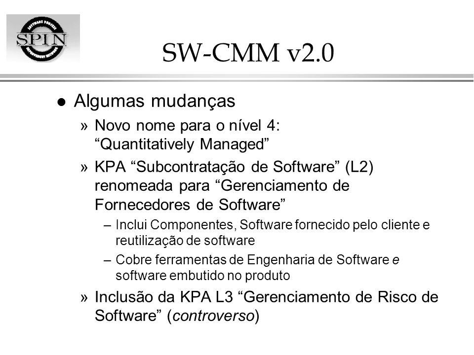 SW-CMM v2.0 l Algumas mudanças »Novo nome para o nível 4: Quantitatively Managed »KPA Subcontratação de Software (L2) renomeada para Gerenciamento de