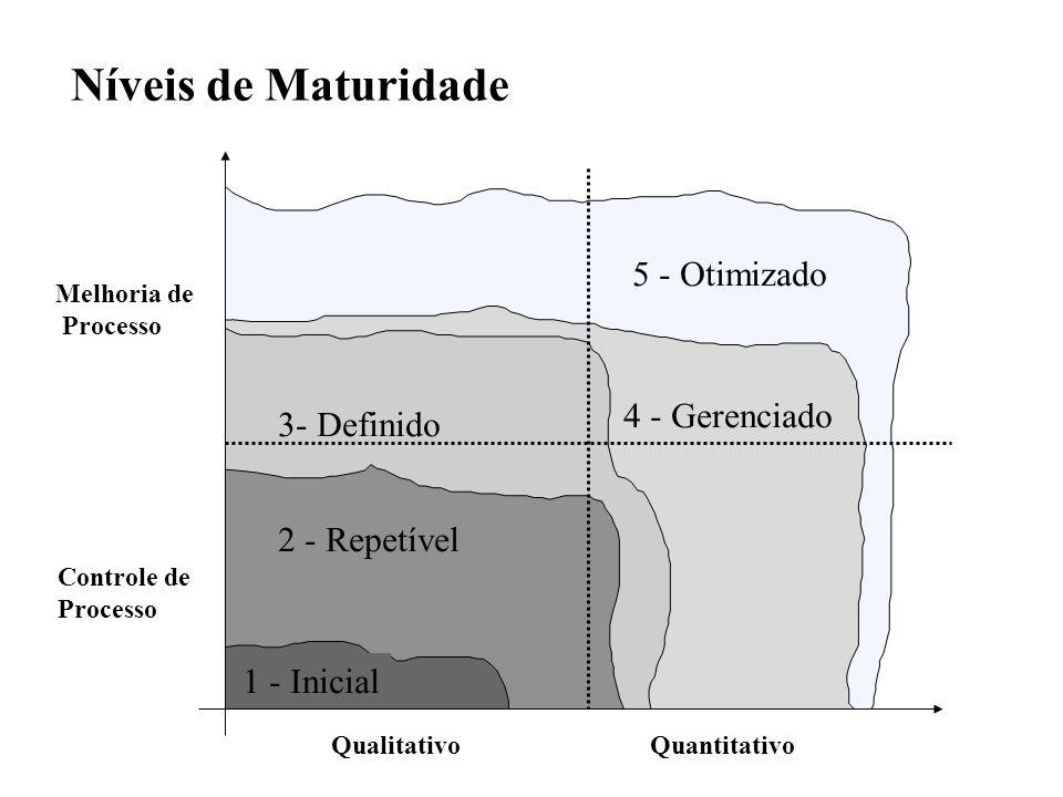 Níveis de Maturidade Melhoria de Processo Controle de Processo QualitativoQuantitativo 3- Definido 5 - Otimizado 4 - Gerenciado 2 - Repetível 1 - Inic