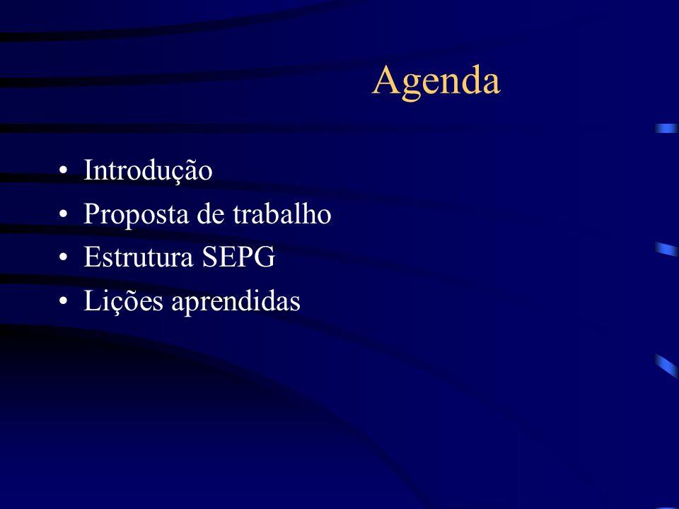 Agenda Introdução Proposta de trabalho Estrutura SEPG Lições aprendidas