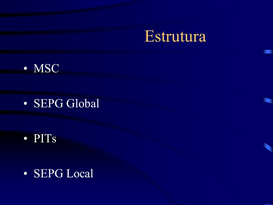 Estrutura MSC SEPG Global PITs SEPG Local