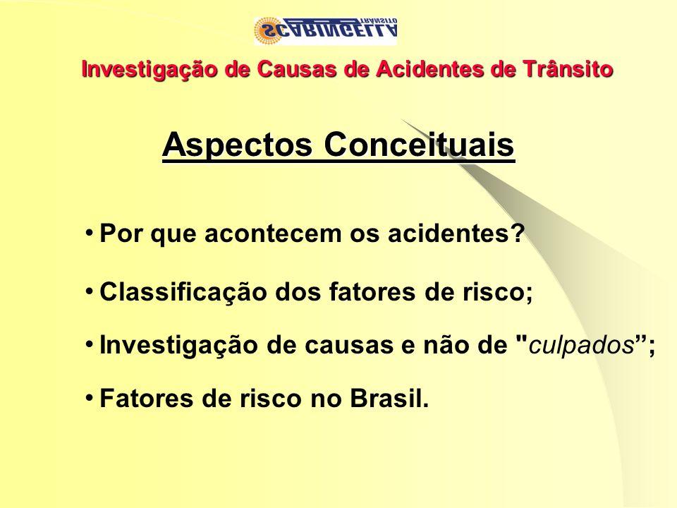 Investigação de Causas de Acidentes de Trânsito Aspectos Conceituais Por que acontecem os acidentes? Classificação dos fatores de risco; Investigação