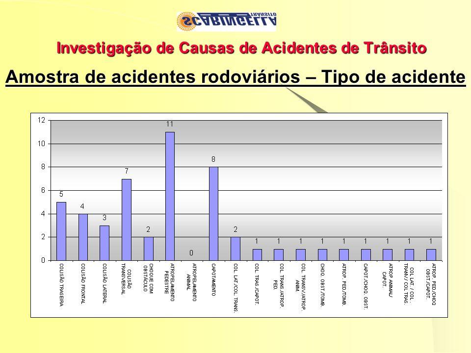 Investigação de Causas de Acidentes de Trânsito Amostra de acidentes rodoviários – Tipo de acidente