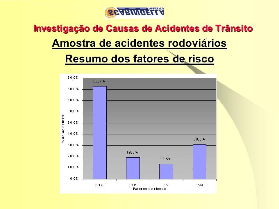 Investigação de Causas de Acidentes de Trânsito Amostra de acidentes rodoviários Resumo dos fatores de risco