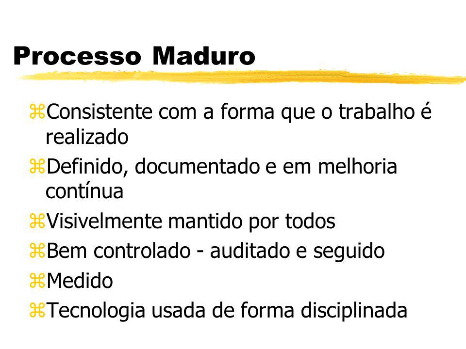 Processo Maduro zConsistente com a forma que o trabalho é realizado zDefinido, documentado e em melhoria contínua zVisivelmente mantido por todos zBem controlado - auditado e seguido zMedido zTecnologia usada de forma disciplinada
