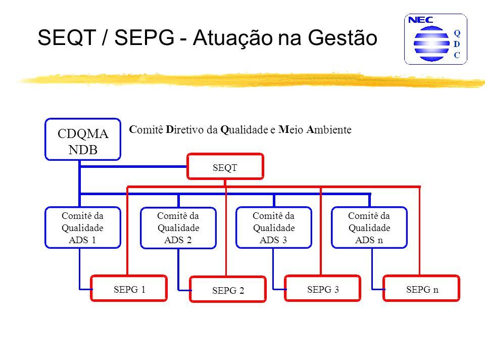 SPI - Atuação do SEQT / SEPG SEQT SEPG Desenvolver novas atividades Atender às diretrizes Padronização Manter estrutura operacional desenvolver novas atividades para suprir as deficiências e correção de rumos, atender às diretrizes estabelecidas, efetuar a padronização das melhorias efetuadas, manter o Processo de Software Padrão da NEC do Brasil S.A - OSSP