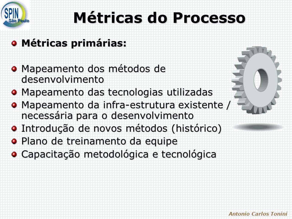 Antonio Carlos Tonini Métricas do Processo Métricas primárias: Mapeamento dos métodos de desenvolvimento Mapeamento das tecnologias utilizadas Mapeame