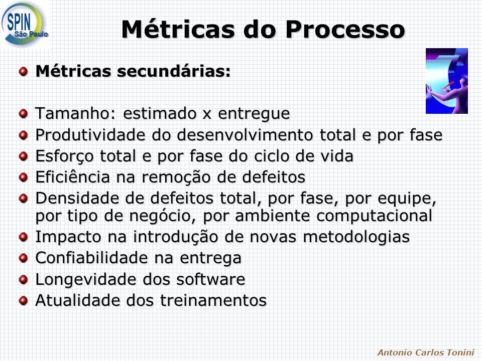 Antonio Carlos Tonini Métricas do Processo Métricas secundárias: Tamanho: estimado x entregue Produtividade do desenvolvimento total e por fase Esforç