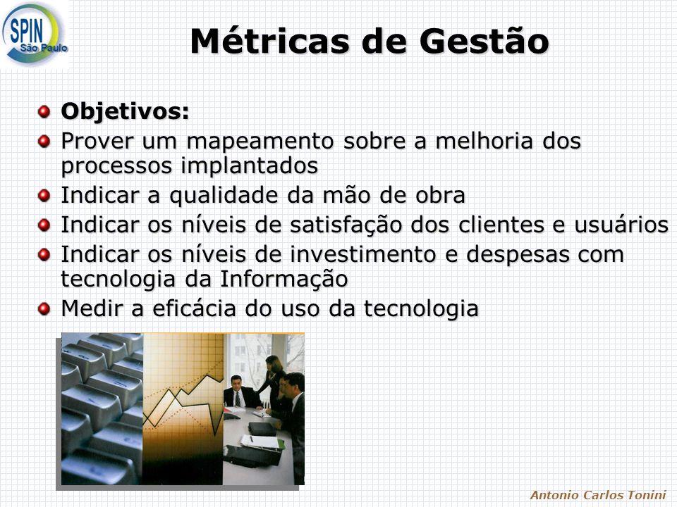 Antonio Carlos Tonini Métricas de Gestão Objetivos: Prover um mapeamento sobre a melhoria dos processos implantados Indicar a qualidade da mão de obra