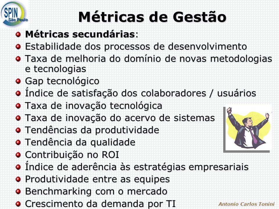 Antonio Carlos Tonini Métricas de Gestão Métricas secundárias: Estabilidade dos processos de desenvolvimento Taxa de melhoria do domínio de novas meto